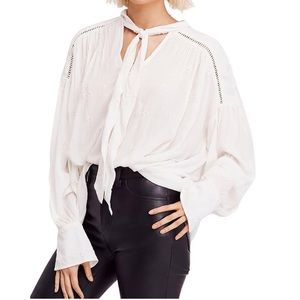 Free People Wishful Moments Tie Neck Blouse